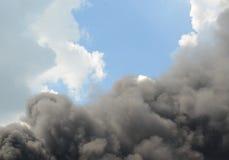 Abstract black smoke. Black smoke on white background Stock Photo