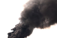 Abstract black smoke. Black smoke on white background Stock Photos