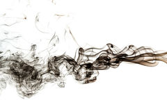 Abstract black smoke on white background Stock Photography