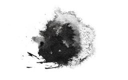 Abstract black splashes on white watercolor paper. monochrome image. Abstract black splashes on white watercolor paper. monochrome image Royalty Free Stock Images