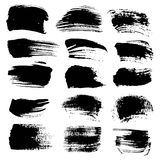 Abstract black strokes of different brushes Royalty Free Stock Images