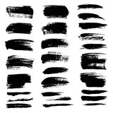 Abstract black textured strokes set Royalty Free Stock Images