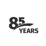abstract black 85th anniversary logo on white background. 85 number logotype. Eighty-five years jubilee. Celebration icon. Eighty-fifth birthday emblem. Vector Royalty Free Stock Image