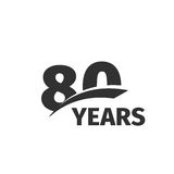 abstract black 80th anniversary logo on white background. 80 number logotype. Eighty years jubilee celebration Royalty Free Stock Image