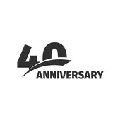 Abstract black 40th anniversary logo on white background. 40 number logotype. Forty years jubilee celebration. Icon. Fortieth birthday emblem. Vector stock illustration