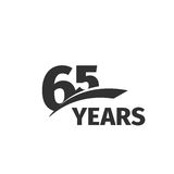 Abstract black 65th anniversary logo on white background. 65 number logotype. Sixty -five years jubilee. Celebration icon. Sixty-fifth birthday emblem. Vector stock illustration
