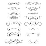 Abstract black thin line curly headers. Retro design element set  on white background. Dividers in linear style. Hand drawn swirls. Vector illustration Stock Photography