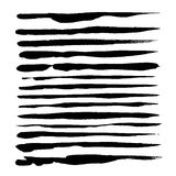 Abstract black thin strokes of ink set on a white backg Stock Photo