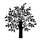 Abstract black tree, isolated natural plant sign, vector Royalty Free Stock Image