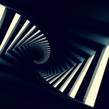 Abstract black twisted spiral corridor. Interior, 3d render illustration Stock Image