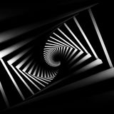 Abstract black twisted spiral corridor. Interior with white lights, 3d render illustration Stock Photos