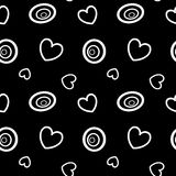Abstract black and white background with circles and hearts seamless pattern illustration. Abstract black and white background with circles and hearts seamless Royalty Free Stock Photo