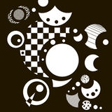 Abstract black-and-white background with circles. Vector illustration. Abstract black and white geometric texture with lines, circles, hatches, triangles, rings stock illustration
