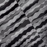 Abstract black and white background with layered waves of textured material design Stock Images