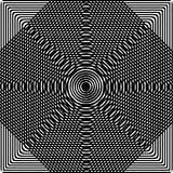 Abstract black and white background. Optical illusion of distorted surface. Geometric pattern. Abstract twisted black and white background. Optical illusion of royalty free illustration