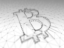 Abstract Black and White Bitcoin Sign Built as an Array of Transactions in Blockchain Conceptual 3d Illustration Royalty Free Stock Photos