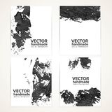 Abstract black and white brush texture banner set 3 Stock Images