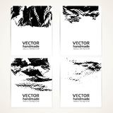 Abstract black and white brush texture hand drawing and prints  banners Stock Image