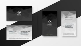 Abstract black and white business card template. Vector royalty free illustration