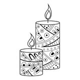 Abstract black white candle pattern illustration Stock Photography