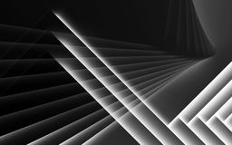 Abstract black and white cg background. Geometric pattern of glowing layers. 3d render illustration vector illustration
