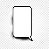 abstract black and white color comic speech balloon icon on checkered background, dialogue box sign, dialog Stock Photography