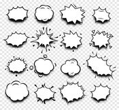 abstract black and white color comics speech balloons icons collection on checkered background, dialogue boxes