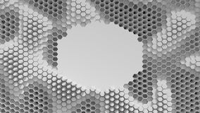 Abstract black and white crystallized background. Honeycombs move like an ocean. With place for text or logo. Abstract black and white crystallized background Stock Photos