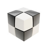 Abstract black and white cube composition isolated Stock Image