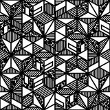 Abstract black and white cube geometric pattern in Stock Images