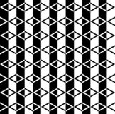 Abstract black and white cube patterns background. Repeat triangle, rhombus and hexagon pattern seamless background vector royalty free illustration