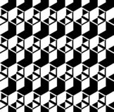 Abstract black and white cube patterns background. Repeat triangle, rhombus and hexagon pattern seamless background vector vector illustration