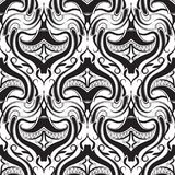Abstract black and white damask   seamless pattern. Vector monochrome ornamental background. Decorative hand drawn floral ethnic style ornament. Paisley Stock Images