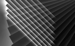Abstract black and white 3d background. Abstract black and white digital background, pattern of glowing stripes. 3d render illustration Stock Photos