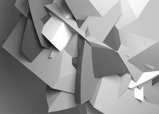 Abstract black and white digital chaotic polygonal surface. With fragments, background texture. 3d illustration Royalty Free Stock Image