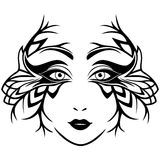 Abstract black and white female face with mask Stock Images