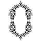 Abstract black and white floral frame. Vector illustration. Black and white floral frame oval shape, abstract art, doodle sketch. Design for card, photo frame Stock Photography