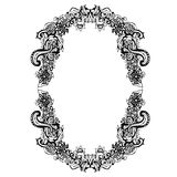 Abstract black and white floral frame. Vector illustration Royalty Free Stock Image