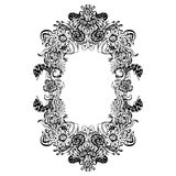 Abstract black and white floral frame. Vector illustration Royalty Free Stock Photography