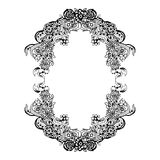 Abstract black and white floral frame. Vector illustration Stock Photography