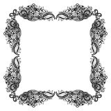 Abstract black and white floral frame. Vector illustration Royalty Free Stock Images