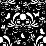 Abstract floral seamless pattern with butterfly. Stock Images