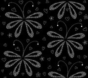 Abstract black and white floral vector seamless pattern with figured moths. Endless decorative texture Stock Photography