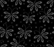 Abstract black and white floral vector seamless pattern with figured moths. Endless texture Stock Photography