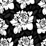 Abstract black and white flowers seamless pattern. Vintage monochrome floral background.  buds on a  . For the fabric design, wall Stock Images