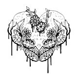 Abstract black and white heart. Vector illustration Royalty Free Stock Photo