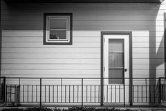 Abstract black and white image of architecture building interior design of wooden window and door of apartment. Selective focus Stock Photo