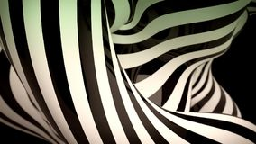 Abstract black and white motion background with moving zebra lines. Loop