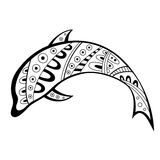 Abstract black white pattern dolphin illustration Royalty Free Stock Photo
