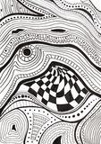 Abstract black and white pattern drawn by ink Stock Images